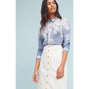 Anthropologie Maeve Floral Silk Button Up Blouse